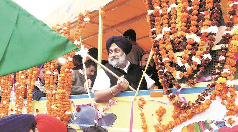 Sukhbir Singh Badal , punjab elections, anti incymbency, sad, new projects, new project rushm punjab new projects, road, infrastructure projects, congress, election campaign, election vote ban, nabha jail, water bus, harsimrat kaur, indian express news, india news