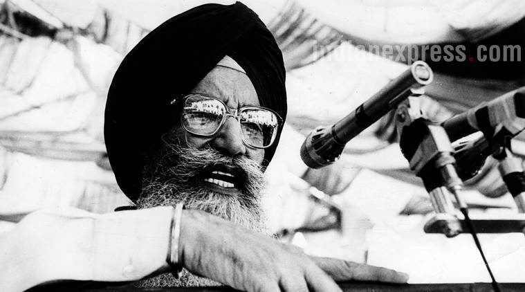 Chief Minister of Punjab Surjeet Singh Barnala. Express archive photo
