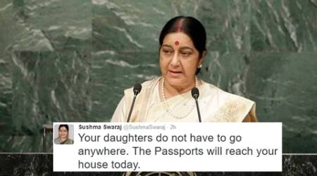 sushma swaraj, sushma swaraj twitter, sushma swaraj change org, sushma swaraj helps passports, sushma swaraj differently abled daughters, passport help, change.org, indian express, indian express news