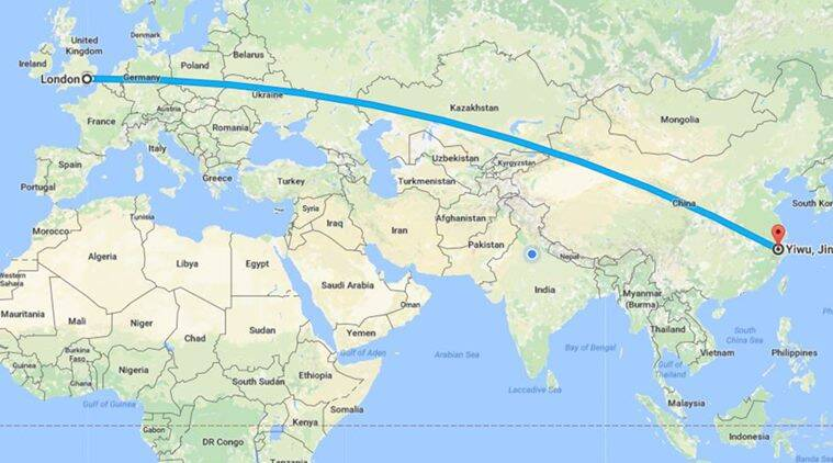 Map Of Europe And China.China S Freight Train To London Travels 12 000 Km In 18 Days India