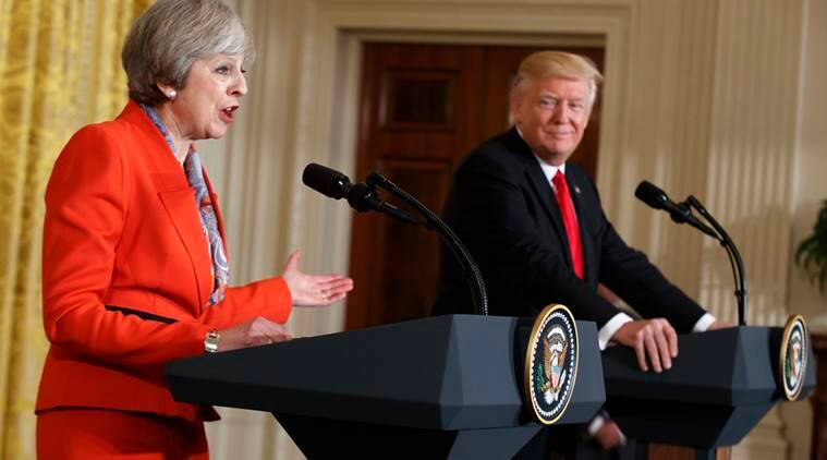 Image result for US President Donald Trump and Britain's Prime Minister Theresa May