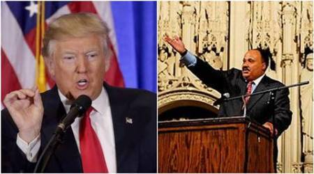 Martin Luther King Jr, US civil rights holiday, Donald Trump, Trump, Martin Luther King III, Trump meets King's son, MLK 3, Martin Luther King day, Trump John Lewis controversy, US news, world news, latest news, indian express