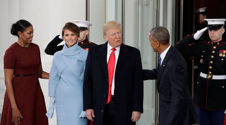 President Barack Obama and first lady Michelle Obama greet President-elect Donald Trump and his wife Melania at the White House in Washington, Friday, Jan. 20, 2017. (AP Photo/Evan Vucci)