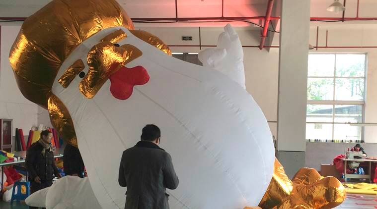 Donald Trump, Donald Trump rooster, Trump-like rooster, Chinese factory, Trump inflatable, Trump-like inflatable, world news, indian express news