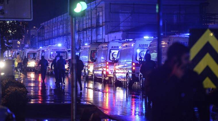 Ambulances are seen near the scene of an attack in Istanbul, on New Year's Day, early Sunday, Jan. 1, 2017. (Source: AP)