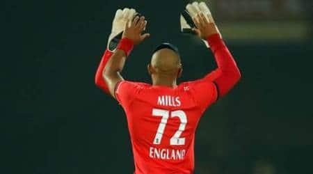 Tymal Mills, Tymal Mills, Tymal Mills England, India vs England, ind vs Eng, India vs England T20, india vs England Nagpur, MS Dhoni,Tymal Mills bowling, Dhoni, Cricket news, Cricket
