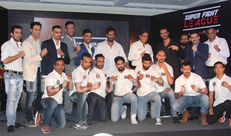 Ajay Devgn, Arjun Rampal, Randeep Hooda, Salima-Sulaiman, Mumbai Maniacs Ajay Devgn, Arjun Rampal Delhi HEroes, Randeep Hooda Haryana sultan, salim sulaiman up nawabs, Mixed Martial Arts, Super Fight League