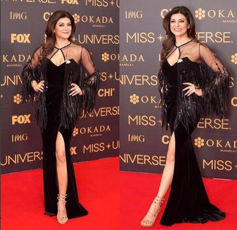 Sushmita Sen black gown, Miss Universe 2016 pageant