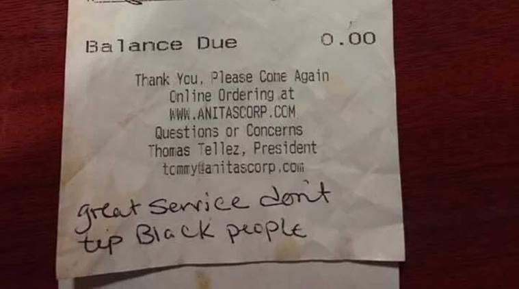 US, racist comments, US racism, US news, don't tip black people, daily racism US, world news