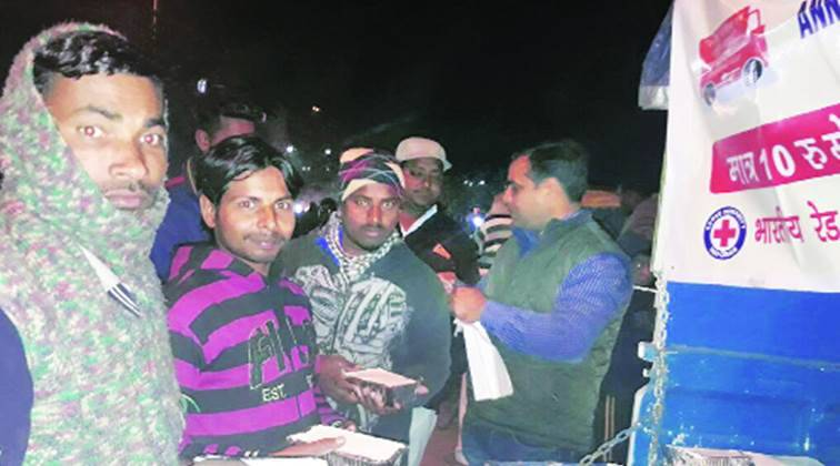 Food packets being distributed under the Annapurna Akshaypatra Yojana in Chandigarh. Express