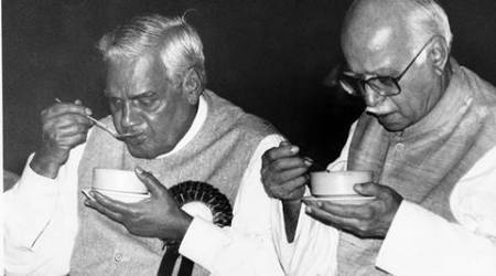 BJP leader Atal Bihari Vajpayee and LK Advani. Express archive photo by Mohan Bane on 03.04.1999