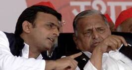 SP chief Mulayam Singh Yadav with U P CM Akhilesh Yadav's choper Landing  during the Maha rally in Bareilly Uttar pradesh on Thursday. Express Photo by Prem Nath Pandey. 21.11.2013.