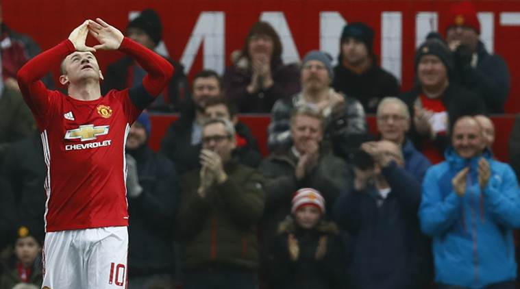 """Britain Football Soccer - Manchester United v Reading - FA Cup Third Round - Old Trafford - 7/1/17 Manchester United's Wayne Rooney celebrates scoring their first goal Action Images via Reuters / Jason Cairnduff Livepic EDITORIAL USE ONLY. No use with unauthorized audio, video, data, fixture lists, club/league logos or """"live"""" services. Online in-match use limited to 45 images, no video emulation. No use in betting, games or single club/league/player publications.  Please contact your account representative for further details."""