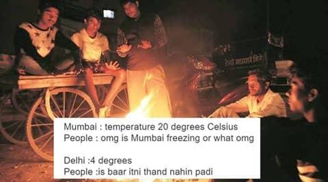 mumbai cold, mumbai winters, delhi winters, wintera in india, winters in delhi, winters in mumbai, mumbai, winters in mumbai jokes, indian express, indian express news, indian express trending, trending in india, viral