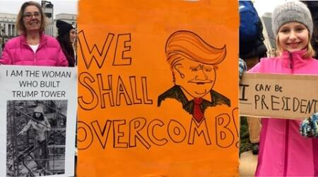 womens march on nyc, womens march on washington, best signs at womens march, womens march donald trump, donald trump protest, protest in nyc, protest in washington, powerful signs at womens march, indian express, indian express news