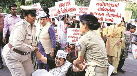 AAP protests outside Surat BJP office over Naliya gangrape, Sanand