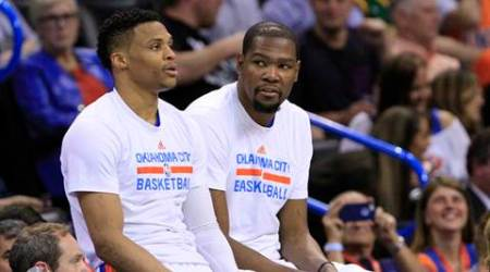 Reunited on the Western Conference All-Star team Russell Westbrook and Kevin Durant will have to practice together on Saturday and play on Sunday. (Source: AP)