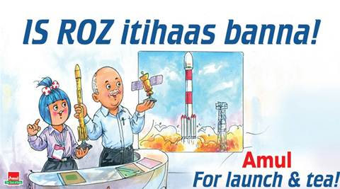 isro, amul, amul isrio ad, PSLV-C37, Indian Space Research Organisation, ISRO, 104 satellites, ISRO record, ISRO world record, india news, indian express news, isro record satellite launch,