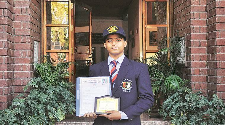 Cadel Yagyanidhi Sharma student of Guru Nanak Public School, he represented NCC (Air Wing) at the Republic Day Parade and Prime Minister Parade in Delhi shows his award in his school in sector 36 Chandigarh on Tuesday, February 07 2017. Express photo by Sahil Walia