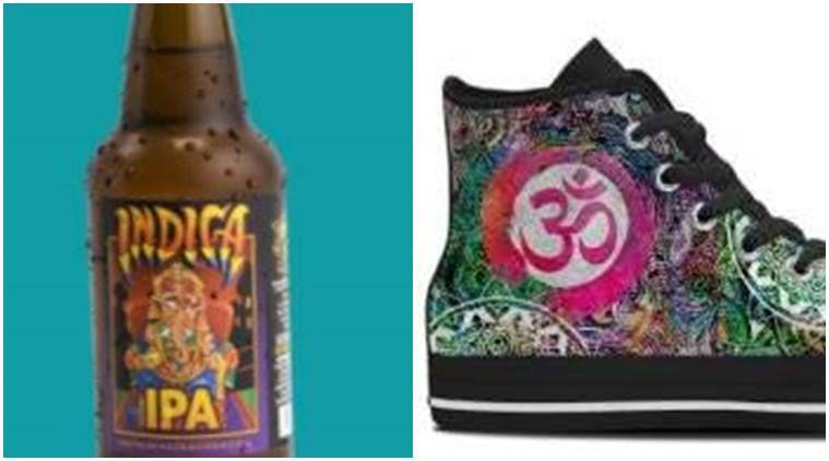 US online store selling shoes and beer with Hindu symbols.