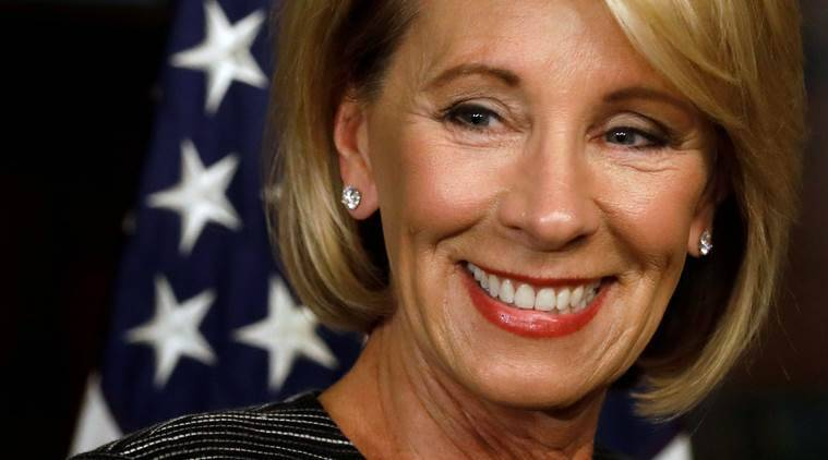 Besty Devos, US education secretary, US education secretary nomination, Devos education secretary, Mike Pence, Mike Pence tie-breaking vote, US senate, President Trump, Trump, world news, indian express news