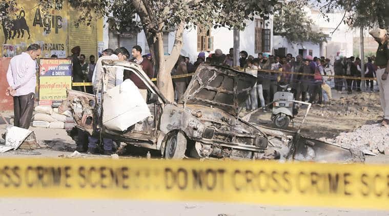 explosion, congress road show, bhatinda, congress, road show, maur mandi, harminder singh jassi, punjab assembly polls, indian express news
