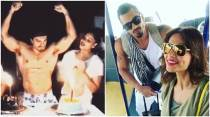 At Bipasha Basu's surprise party, Karan Singh Grover takes off his shirt to cut birthday cake. See inside pics