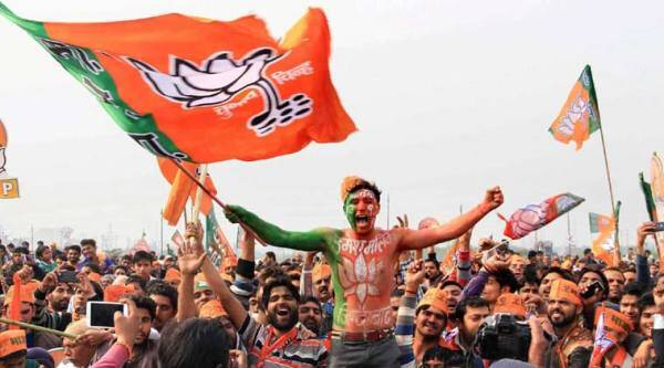 BJP supporters at PM Modi's 'Vijay Shankh Nad' Rally in Meerut. (PTI Photo)