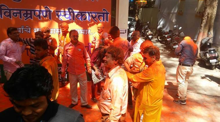 Celebrations at BJP's office in Pune. (Source: Express photo by Partha Biswas)