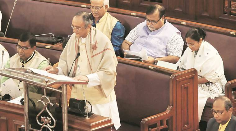 Finance Minister Amit Mitra presents the state Budget in the Assembly on Friday.  Subham Dutta