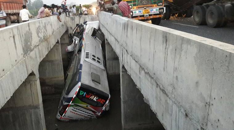 andhra bus accident, bus accident, andhra pradesh bus accident, bus accident today, krishna district bus accident, bus accident death toll, accident today, india news, accident news, indian express news, andhra pradesh news
