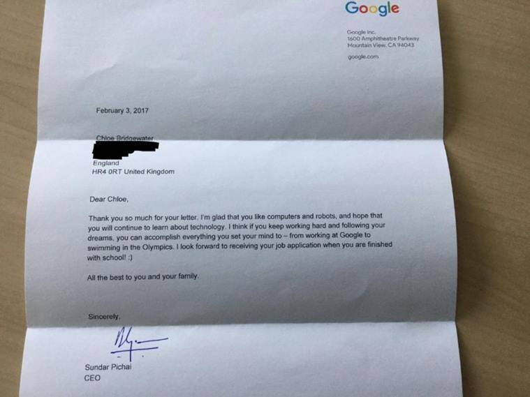 Ceo Sundar Pichai Replies To 7 Year Old Girl Who Wanted A Job In