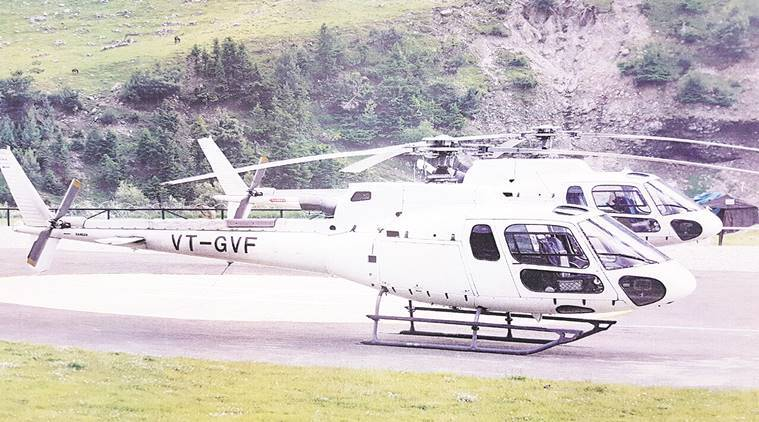 File photo of the Choppers supposed to fly over Rose Garden and other parts during Rose Fest in Chandigarh. Express photo