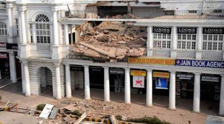 New Delhi: The collapsed section of a building in C-Block area of Connaught Place in New Delhi on Thursday. The incident took place on Wednesday night. PTI Photo (PTI2_2_2017_000153A)