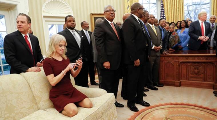 kellyane conway, conway white house, conway kneeling photo, donald trump, trump, white house, US news
