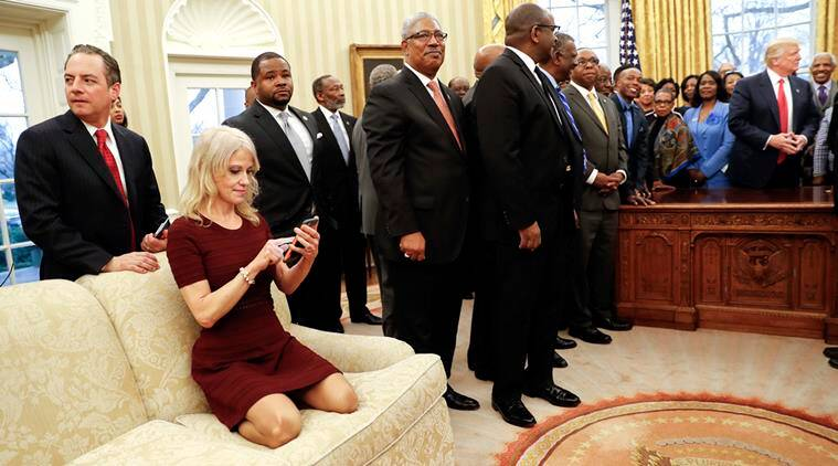 donald trump, donald trump aide, donald trump aide viral photo, Kellyanne Conway photo, Kellyanne Conway, Kellyanne Conway twitter, Kellyanne Conway sofa, Kellyanne Conway oval office, indian express, indian express news