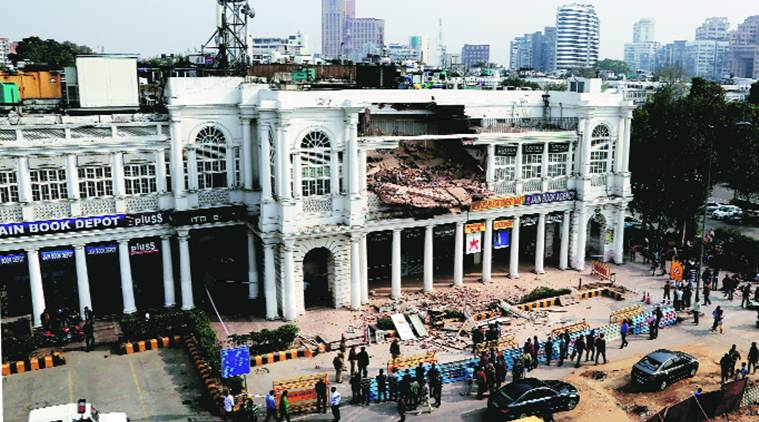 connaught place, connaught place building collapse, building collapse, CP building collapse, delhi building collapse, ndmc, indian express news, delhi, delhi news