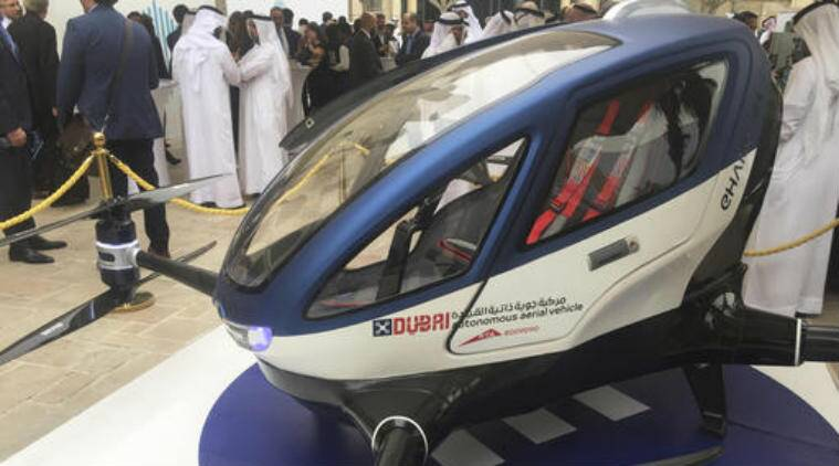 passenger carrying drone, Chinese EHang 184, Hyperloop One, Automatic drone, Passenger drone begin in July, Drone intrusions, Dubai Airport, Controlled visa 4G mobile internet,egg-shaped craft , four-legged craft,f Dubai's Roads & Transportation Agency, US Federal Aviation Administration, Hyperloop, Elon Musk,Futuristic transportation, Technology, Technology news