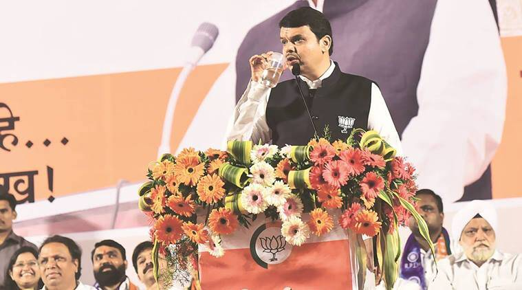 Chief Minister Devendra Fadnavis at the BJP rally in Dadar-Prabhadevi. Kevin DSouza
