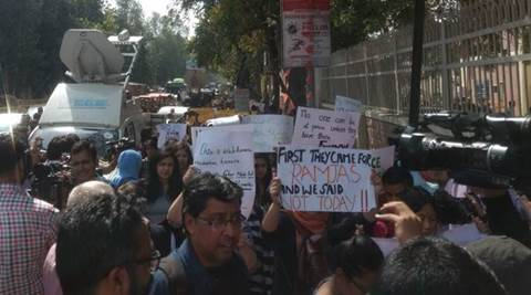 Ramjas protest LIVE updates: D Raja, Sitaram Yechury join march against ABVP