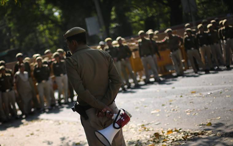 Police personnel deployed at Delhi University on Thursday. Express photo by Oinam Anand