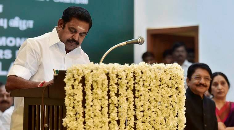Chennai: Chief Minister 'Edappadi' K Palaniswami after taking the oath of secrecy administered by Governor CH Vidyasagar Rao during the swearing-in ceremony at Raj Bhavan in Chennai on Thursday. PTI Photo R Senthil Kumar(PTI2_16_2017_000240A)