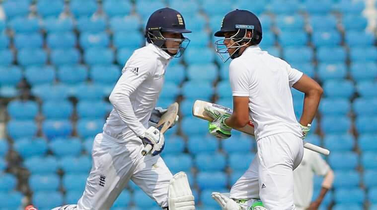 Nagpur: England U-19 captain Max Holden (R) and George Bartlett take a run during the Test match against India U-19 at VCA stadium in Nagpur on Monday. PTI Photo (PTI2_13_2017_000140A)