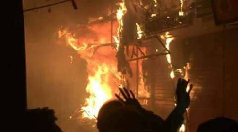 Fire breaks out at Tehri House in Haridwar's Bada Bazaar. (ANI)