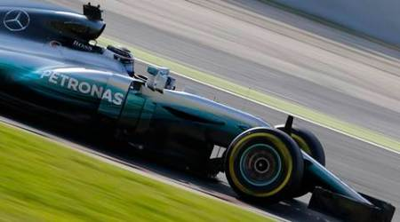 Mercedes driver Valtteri Bottas of Finland steers his car during a Formula One pre-season testing session  (Source:AP Photo)