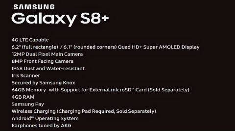 Samsung Galaxy S8+ specs leaked ahead of launch: 6.2-inch display, 4GB RAM