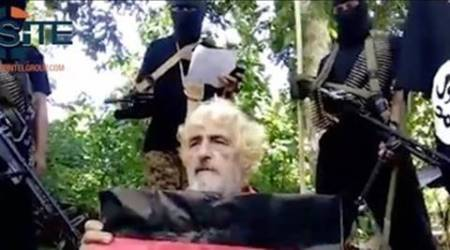 In this undated image made from militant video and released by SITE Intel Group on Feb. 24, 2017, shows German hostage Jurgen Gustav Kantner at an undisclosed location. Abu Sayyaf extremists in the Philippines have released a video of the beheading of Kantner. The brief video circulated Monday, Feb. 27, by the SITE Intelligence Group, which monitors jihadi websites, is the first sign that the brutal militants proceeded with their threat to kill Kantner in the southern Philippines after a Sunday ransom deadline lapsed. (SITE Intel Group via AP)