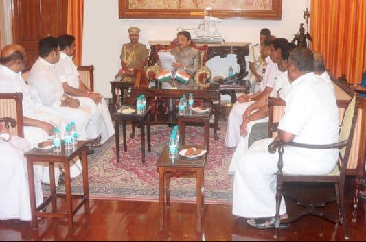AIADMK Legislature party leader Edappadi K.Palanisamy met Tamil Nadu Governor C Vidyasagar Rao at Raj Bhavan today.