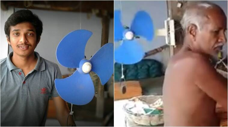 grandson makes a fan without electricity, guy makes a fan for his grandfather, Grandson gifts his grandfather a fan, talking care of grandparents, indian express, indian express news
