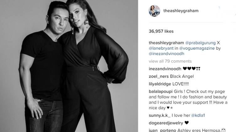 Prabal Gurung with plus size model Ashley Graham. (Source: Instagram/Ashley Graham)
